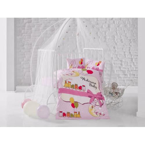 baby bettw sche train pink gr e 100x135 cm 3 tlg 15 50. Black Bedroom Furniture Sets. Home Design Ideas