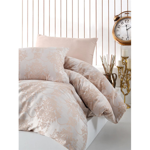 Jaquard Satin Bettwäsche 240x220 cm. Calista V1 5tlg Set. Luxury Edition King Size Gold Farbe