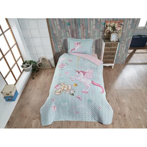 Kinder Tagesdecke - Set. 180 x 240 cm. mit Kissenbezug für Einzelbett,  Unicorn