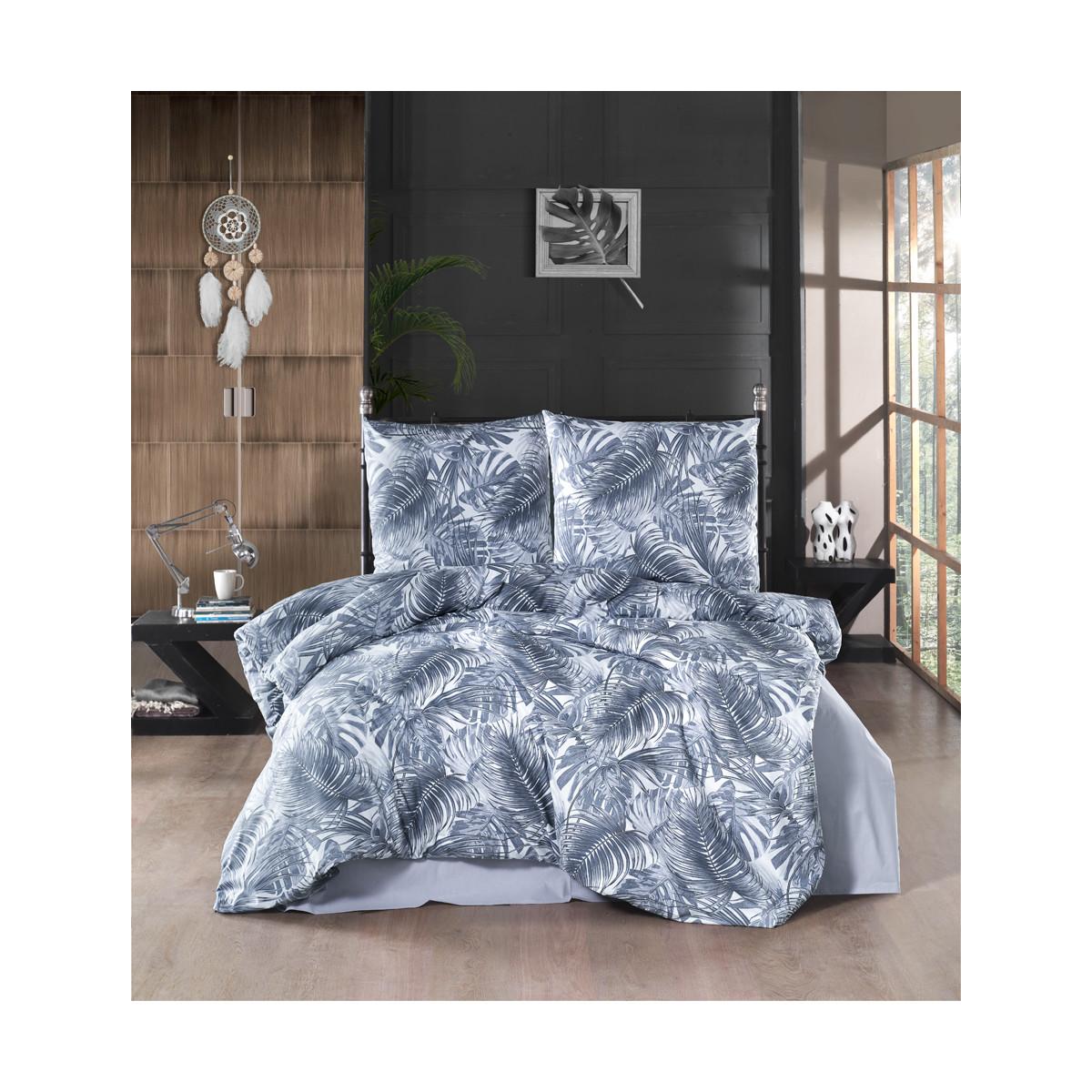 Bettwasche 200x220 Cm Navy Blau Palmblatt Muster 100 Baumwolle Renf 27 90